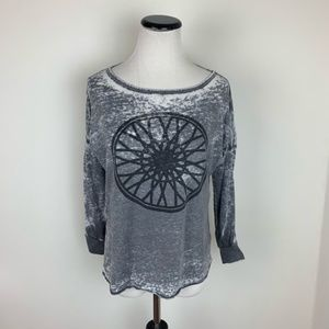 SoulCycle Burnout Graphic Tee Long Sleeve Top Gray